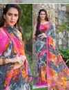 image of Graceful Georgette Casual Printed Saree In Multi Color