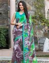 image of Lovely Georgette Printed Saree In Multi Color