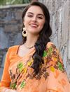 photo of Ravishing Orange Color Printed Saree In Georgette Fabric