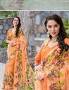 image of Ravishing Orange Color Printed Saree In Georgette Fabric
