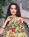 photo of Graceful Georgette Casual Printed Saree In Cream Color