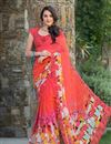image of Tempting Peach Color Party Wear Printed Saree In Georgette Fabric