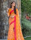 image of Brilliant Yellow Color Party Wear Printed Georgette Saree