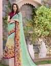 image of Graceful Georgette Casual Printed Saree In Cyan Color