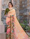 image of Lovely Georgette Printed Saree In Orange Color