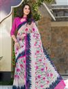 image of Beguiling Off White Color Printed Casual Saree In Georgette Fabric