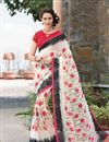 image of Captivating Off White Color Printed Party Wear Georgette Saree