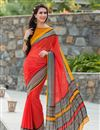 image of Tempting Red Color Party Wear Printed Saree In Georgette Fabric