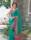 image of Brilliant Teal Color Party Wear Printed Georgette Saree
