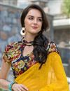 photo of Ravishing Yellow Color Printed Saree In Georgette Fabric