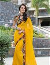 image of Ravishing Yellow Color Printed Saree In Georgette Fabric