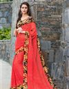 image of Graceful Georgette Casual Printed Saree In Red Color