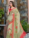 image of Lovely Georgette Printed Saree In Beige Color