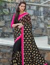 image of Ravishing Black Color Printed Saree In Georgette Fabric