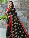 image of Graceful Georgette Casual Printed Saree In Black Color