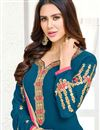photo of Teal Embroidery Designs On Georgette Regular Wear Straight Salwar Suit