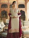 image of Kritika Kamra Georgette Fancy Cream Embroidered Function Wear Designer Sharara Dress