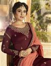 photo of Kritika Kamra Function Wear Maroon Designer Georgette Embroidered Palazzo Salwar Suit