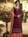 image of Kritika Kamra Function Wear Maroon Designer Georgette Embroidered Palazzo Salwar Suit