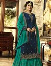 image of Kritika Kamra Georgette Function Wear Designer Embroidered Navy Blue Palazzo Salwar Kameez