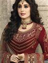 photo of Kritika Kamra Maroon Georgette Embroidered Function Wear Designer Straight Cut Salwar Suit