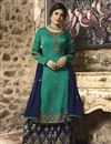 image of Kritika Kamra Fancy Cyan Designer Embroidered Palazzo Suit In Georgette