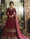 image of Kritika Kamra Georgette Designer Maroon Embroidered Palazzo Suit