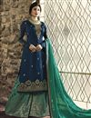 image of Kritika Kamra Georgette Fancy Navy Blue Designer Embroidered Palazzo Suit