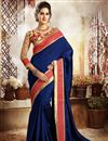image of Ravishing Blue Color Party Wear Dhupion And Silk Saree With Unstitched Designer Banglori Silk Blouse