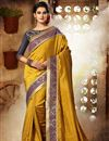 image of Modish Mustard Color Designer Festive Wear Embroidered Saree In Dhupion And Silk Fabric