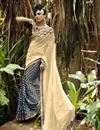 image of Brasso And Chiffon Fabric Festive Wear Sarree In Cream Color With Beautiful Designs On Blouse
