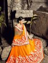 photo of Orange Color Wedding Wear Saree In Chiffon Fabric With Designer Blouse