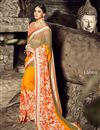 image of Orange Color Wedding Wear Saree In Chiffon Fabric With Designer Blouse