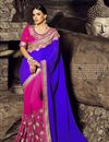 image of Blue And Pink Color Function Wear Saree In Silk Fabric With Attractive Diamond Work And Designer Blouse