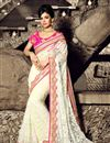 image of Designer Sangeet Wear Saree In Off White Color Net Fabric With Attractive Blouse Designs