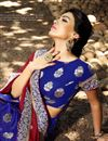 photo of Satin And Viscose Fabric Red And Blue Color Party Wear Saree With Eye Catchy Blouse Designs