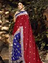 image of Satin And Viscose Fabric Red And Blue Color Party Wear Saree With Eye Catchy Blouse Designs
