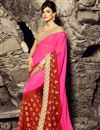 image of Pink And Red Color Chiffon Fabric Party Wear Saree With Designer Blouse And Border Work