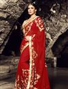 image of Red Color Function Wear Saree With Beautiful Embroidery Work On Chiffon Fabric