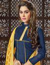 photo of Art Silk Navy Blue Straight Churidar Dress With Fancy Dupatta