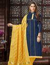 image of Art Silk Navy Blue Straight Churidar Dress With Fancy Dupatta