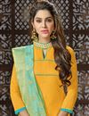 photo of Mustard Straight Churidar Suit With Fancy Dupatta In Art Silk