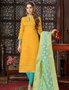 image of Mustard Straight Churidar Suit With Fancy Dupatta In Art Silk