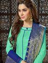 photo of Sea Green Straight Churidar Dress With Fancy Dupatta In Art Silk