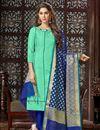 image of Sea Green Straight Churidar Dress With Fancy Dupatta In Art Silk