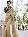 image of Appealing Beige Color Embroidered Saree in Georgette Fabric