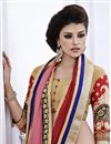 photo of Designer Peach-Maroon Color Embroidered Saree with Brocade-Georgette Blouse