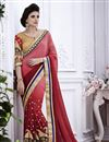 image of Designer Peach-Maroon Color Embroidered Saree with Brocade-Georgette Blouse