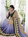 image of Exquisite Beige-Blue Color Party Wear Embroidered Georgette Saree