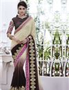 image of Appealing Beige-Brown Color Embroidered Saree in Georgette Fabric